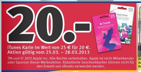 iTunes Rabatt bei Rossmann.