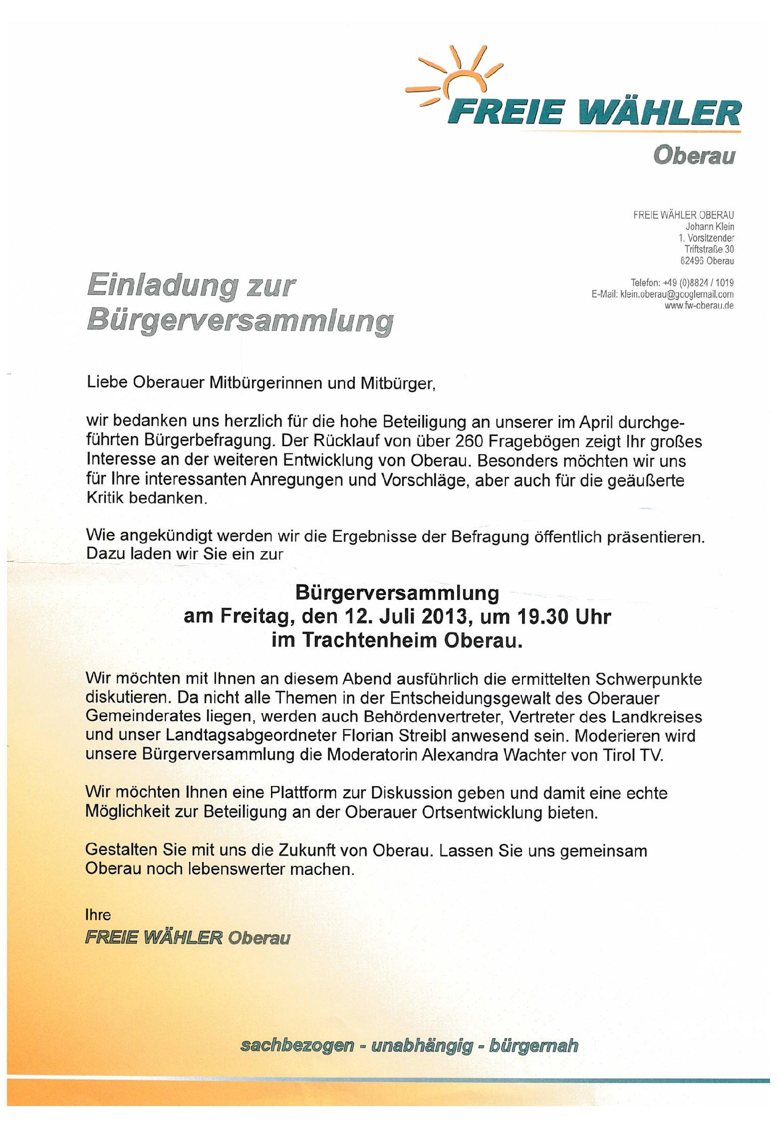 Einladung zur Bürgerversammlung