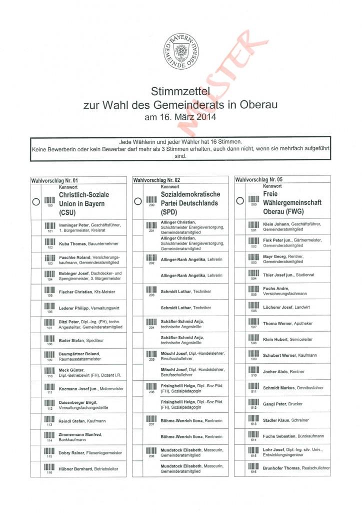 Stimmzettel zur Wahl des Gemeinderates in Oberau