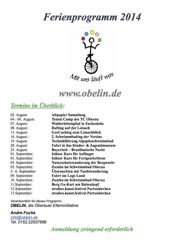 OBELIN Ferienprogramm 2014