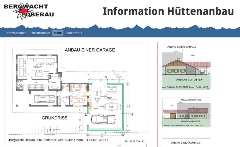 Informationen zum Anbau der Bergwacht Oberau